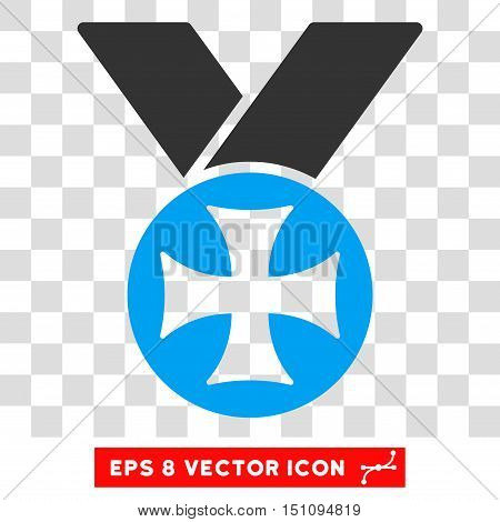 Vector Maltese Medal EPS vector pictograph. Illustration style is flat iconic bicolor blue and gray symbol on a transparent background.