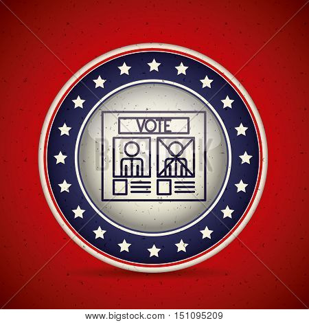 Card inside button icon. Vote election nation and government theme. Silhouette design. Vector illustration