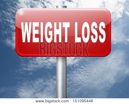 weight loss lose extra pounds by sport or dieting losing kilos road sign billboard 3D illustration
