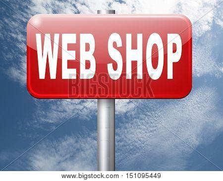 web shop or online shopping sign for internet webshop or store 3D illustration