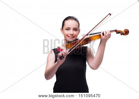 Elegant young violin player isolated on white