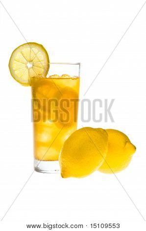 Chilled Lemon Ice Tea Over White
