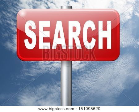 Search button searching information online find info on the internet 3D illustration