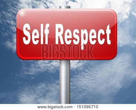 Self respect or dignity self esteem or respect confidence and pride 3D illustration