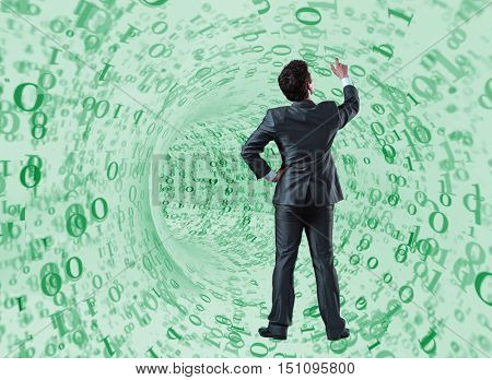 Businessman against the funnel made of binary numbers