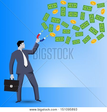 Attracting investments business concept. Confident businessman in business suit with magnet in one hand and case in other hand attracts investments in form bills and coins cloud.