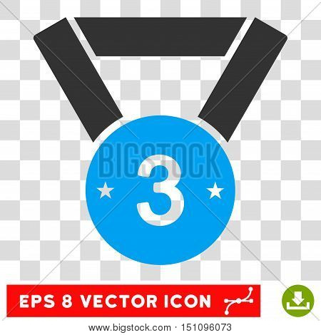 Vector Third Medal EPS vector pictograph. Illustration style is flat iconic bicolor blue and gray symbol on a transparent background.