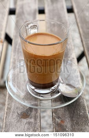 Turkish Coffee With Milk In Glass Cup Close Up