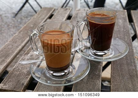 Two Turkish Coffee Glass Cups, Black And With Milk