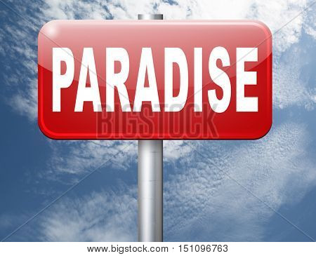 Paradise road or way to heaven, a fantastic beach tropical exotic island for a dream vacation, billboard sign. 3D illustration