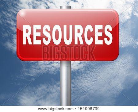 Resources human or natural resource road sign billboard 3D illustration