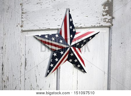 United States patriotic star design on a white wooden background.
