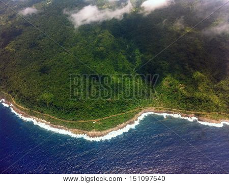 Aerial view of coastal road in the South Pacific islands of Vanuatu.