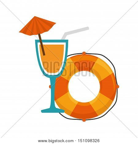orange and yellow striped float and cocktail drink over white background. vector illustration