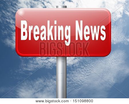 Latest hot news breaking latest article or press release on a daily basis road sign billboard 3D illustration