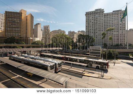 Sao Paulo, Brazil - June 26, 2016: Bandeira bus terminal in Sao Paulo city downtown.