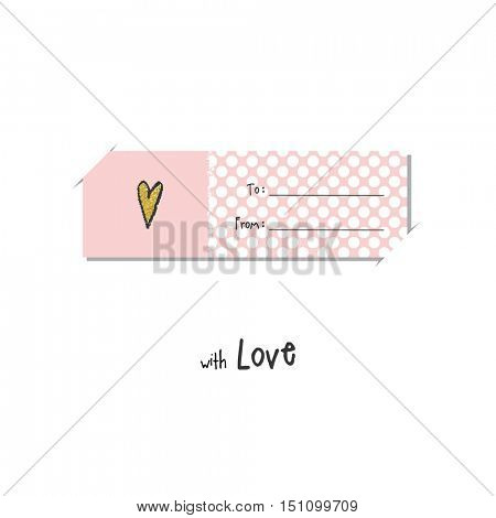 Greeting card with pink heart. For birthday invitation,  baby shower, mother day. Cute graphic design element.
