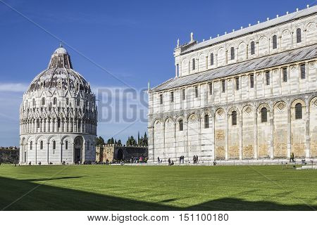 View of the Baptistery of Pisa dedicated to St. John in the Square of Miracles