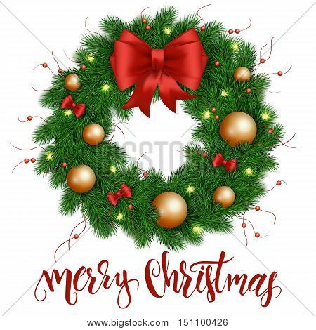 vector illustration of isolated realistic christmas wreath with christmas red and gold ornaments, ribbon bows and bulb garland.