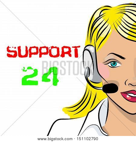 Round-the-clock telephone support. Woman dispatcher. Vector illustration. Support 24