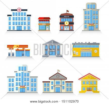 Flat building fronts of hospital, police, store, market, school, university, hotel and bank