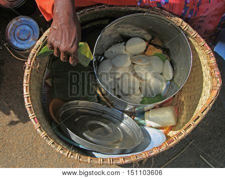 basket with indian street food in Kanyakumari India