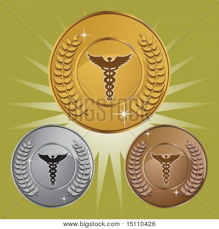 caduceus wreath coin