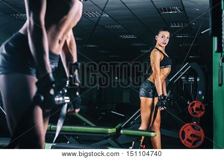 Woman exercising in trainer for triceps muscles in the gym.
