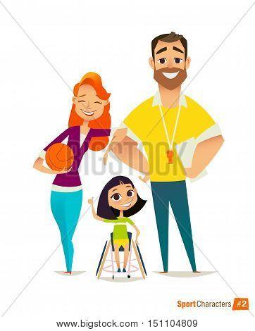 Handisport. Handicapped Kids. Coaching handicapped young sportsmen's. Medical rehabilitation. Vector Illustration.