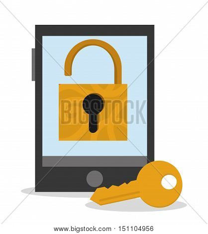 Smartphone key and padlock icon. Security system cyber and data theme. Colorful design. Vector illustration