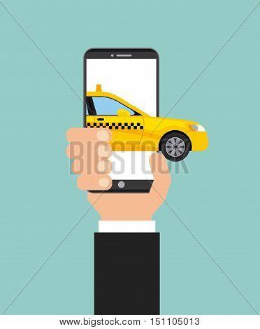 taxi service public transport app technology vector illustration design