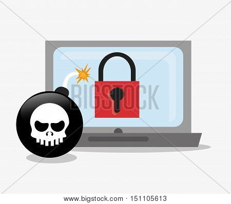 Laptop bomb and padlock icon. Security system cyber and data theme. Colorful design. Vector illustration