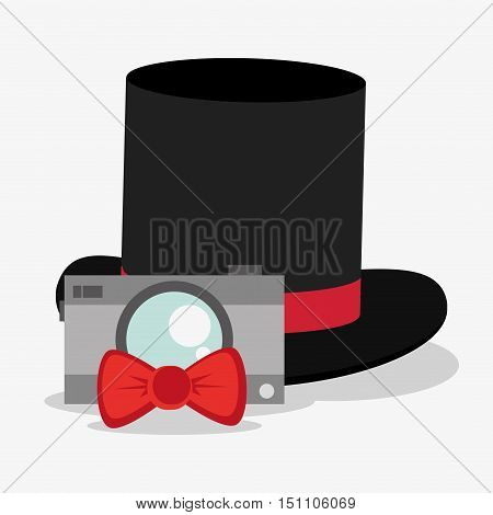 Camera bowtie and hat icon. Hipster style fashion and vintage theme. Colorful design. Vector illustration