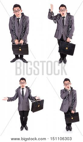 Businessman chained isolated on white