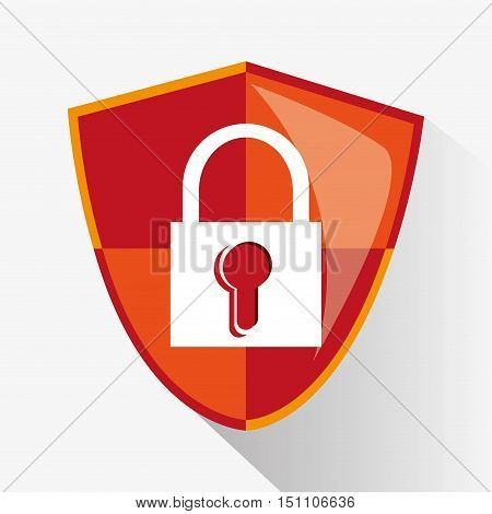 Padlock inside shield icon. Security system cyber and data theme. Colorful design. Vector illustration