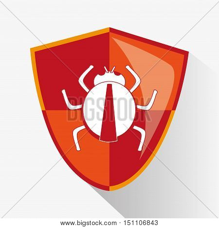 Bug inside shield icon. Security system cyber and data theme. Colorful design. Vector illustration