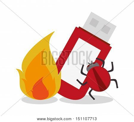 Flame usb and bug icon. Security system cyber and data theme. Colorful design. Vector illustration