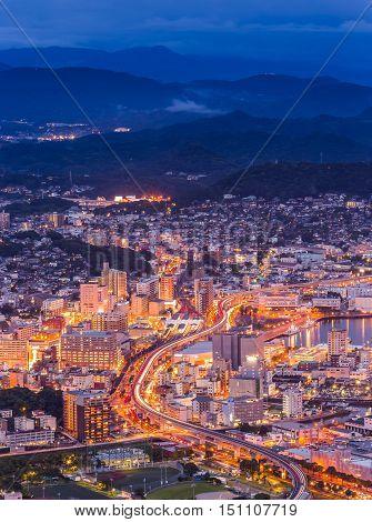 Sasebo Downtown Skyline At Night, Nagasaki, Japan.