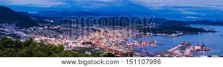 Sasebo City Skyline View From Mount Yumihari Overlook Nagasaki, Japan