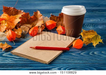 Autumn Leaves, Hot Steaming Cup Of Coffee And On Wooden Table Background. Seasonal, Morning Coffee,