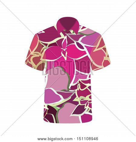 Unisex T-shirt with the Image Flower. Vector Illustration. EPS10