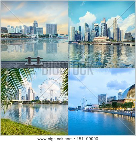 Singapore central quay high resolution collage of four sunrise images