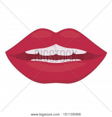 Lips icon. Mouth cartoon and smile theme. Isolated design. Vector illustration