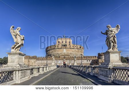 view of the Castel Sant'Angelo from the Sant'Angelo bridge