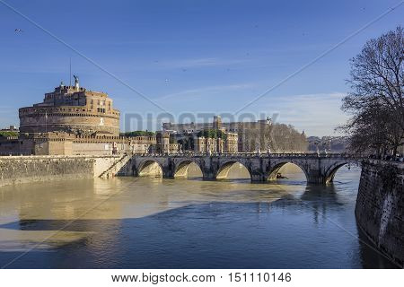 View of the Castel Sant'Angelo in Rome Italy