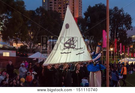 ADELAIDE, AU - SEPTEMBER 18, 2016: Shadow puppets are part of the entertainment for crowds gathered at Adelaide's Elder Park to celebrate the annual Moon Lantern Festival as part of the Adelaide Festival Centre's OzAsia festival.