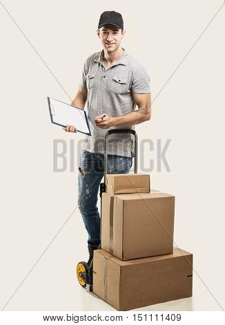 Courier hand truck boxes and packages - on beige