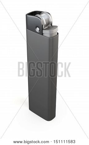 Single Black Lighter Isolated On A White Background. 3D Rendering