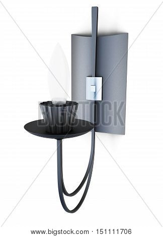Wall Sconces On White Background. 3D Rendering