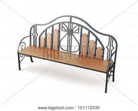 Garden Bench Isolated On A White Background. 3D Rendering